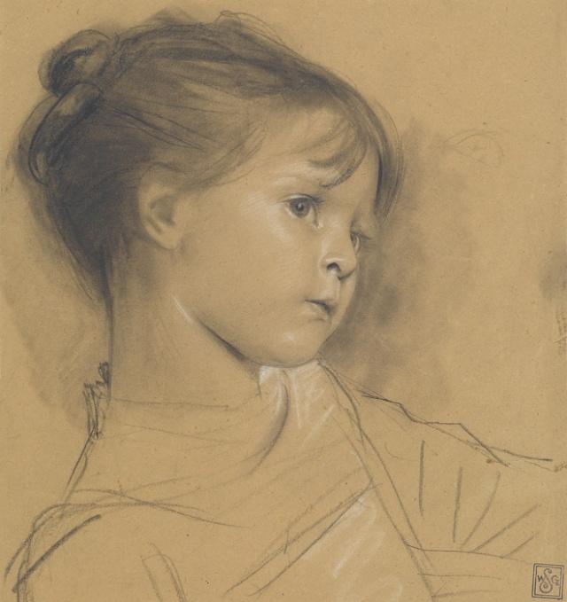 klimt-annerl-brustbild-eines-kleinen-maedchens-nach-rechts-1885