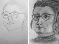 Autoritratto prima e dopo il corso - www.24hdrawinglab.com