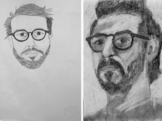 Autoritratto prima e dopo il corso www.24hdrawinglab.com