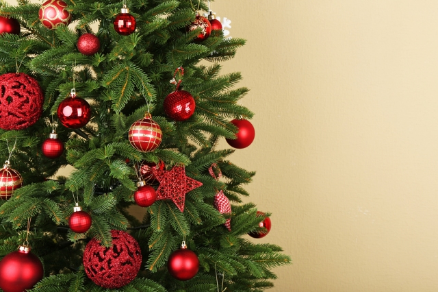 Decorated Christmas tree closeup