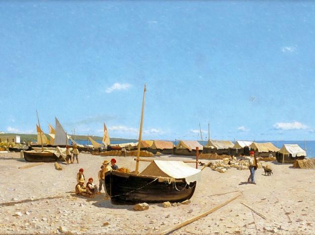 Guglielmo-Ciardi-Il-Porto-di-Anzio-1874-circa-olio-su-tela-46-x-88-cm-Courtesy-of-Galleria