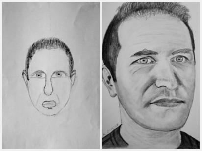 autoritratto prima e dopo il corso di disegno (tre giorni)