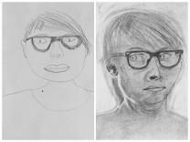Autoritratto prima e dopo il corso di disegno 24H Drawing Lab